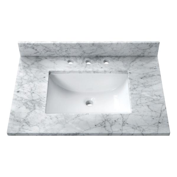31 in. Carrera White Stone Vanity Top (Rectangular Sink)