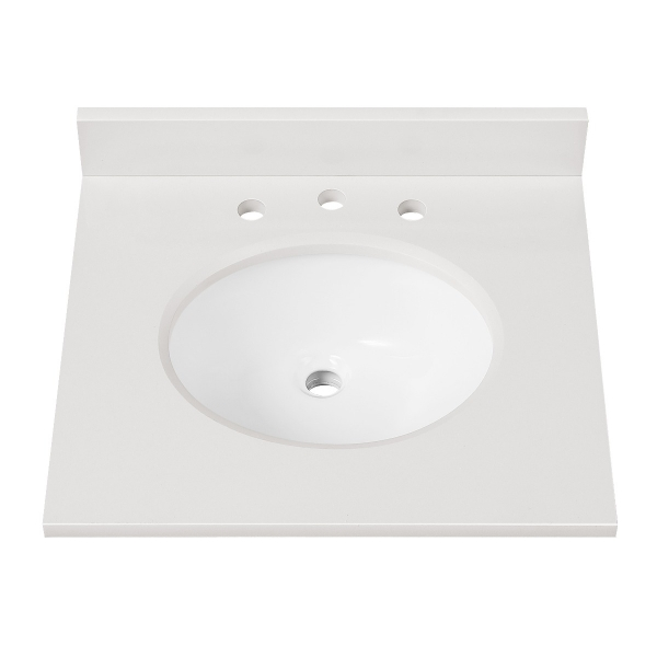 """Engineered Stone Top - 25"""" White (Single Oval Sink Cutout)"""