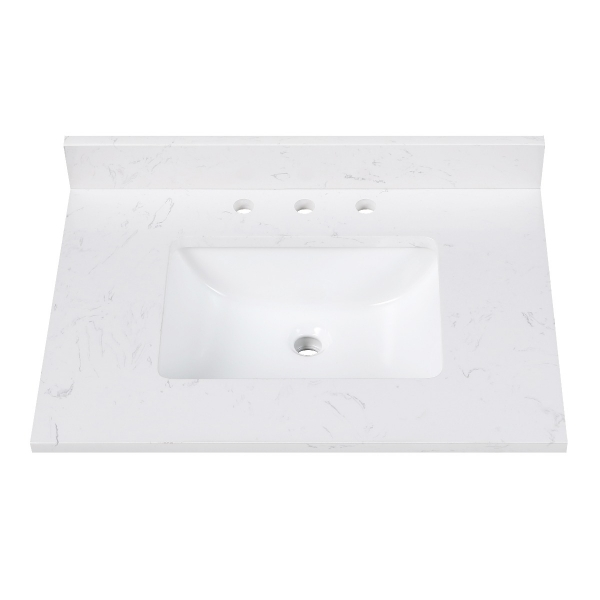 "Engineered Stone Top - 31"" Cala White (Single Rectangular Sink Cutout)"