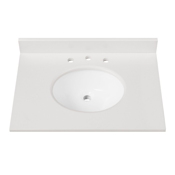 """Engineered Stone Top - 31"""" White (Single Oval Sink Cutout)"""