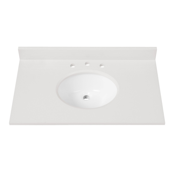 """Engineered Stone Top - 37"""" White (Single Oval Sink Cutout)"""
