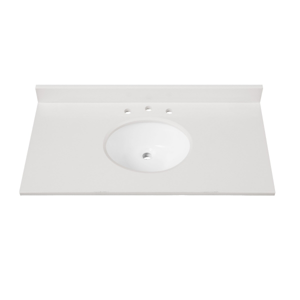 """Engineered Stone Top - 43"""" White (Single Oval Sink Cutout)"""