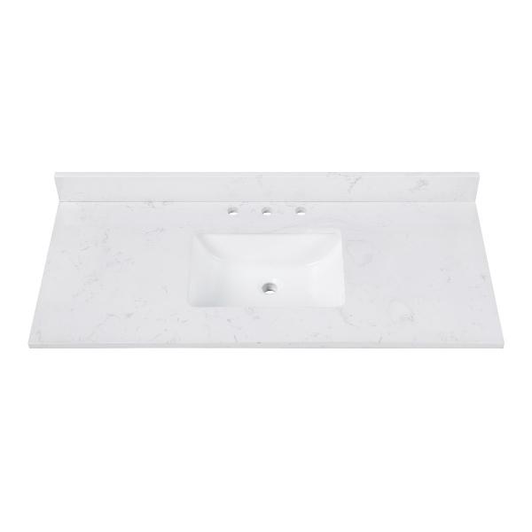 "Engineered Stone Top - 49"" Cala White (Single Rectangular Sink Cutout)"