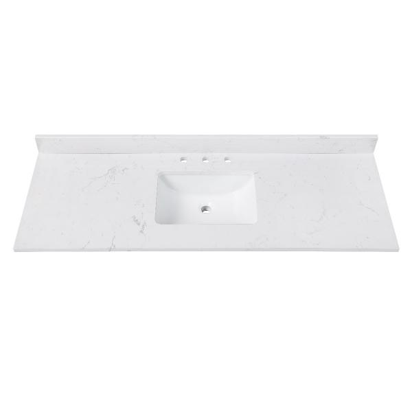 "Engineered Stone Top - 61"" Cala White (Single Rectangular Sink Cutout)"