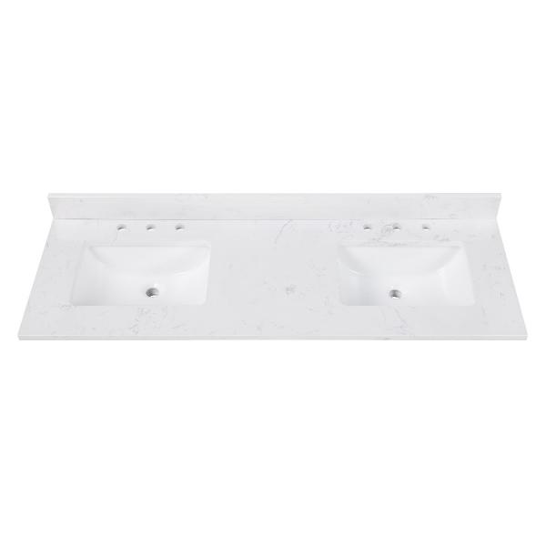 "Engineered Stone Top - 61"" Cala White (Double Rectangular Sinks Cutout)"