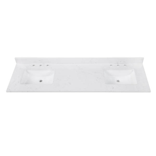 "Engineered Stone Top - 73"" Cala White  (Double Rectangular Sinks Cutout)"