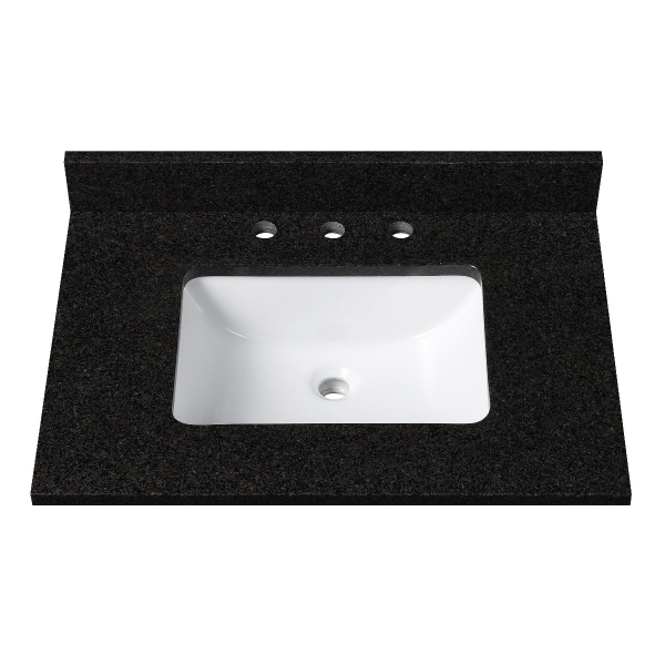 25 in. Black Granite Stone Vanity Top (Rectangular Sink)