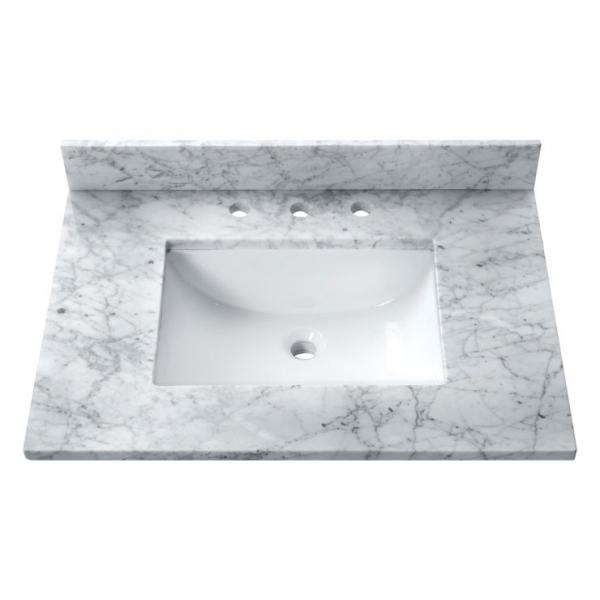 25 in. Carrera White Stone Vanity Top (Rectangular Sink)