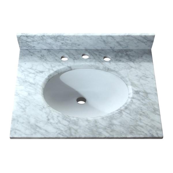 25 in. Carrera White Stone Vanity Top