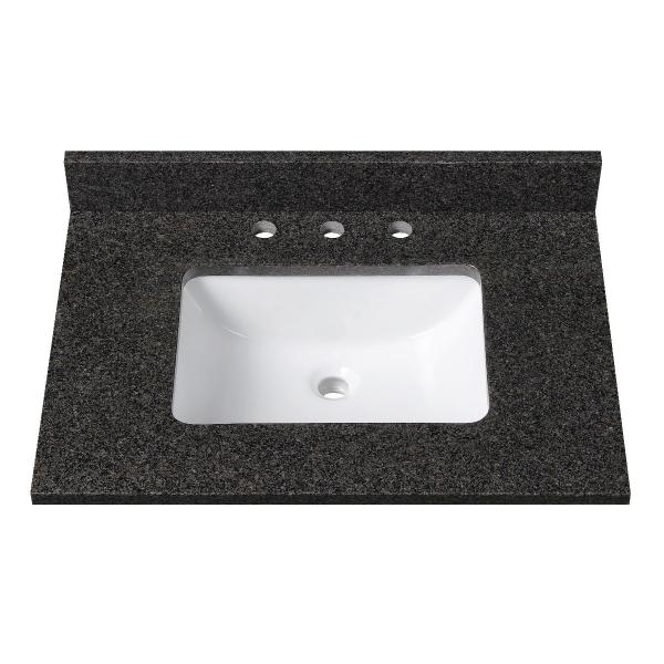 31 in. Black Granite Stone Vanity Top (Rectangular Sink)