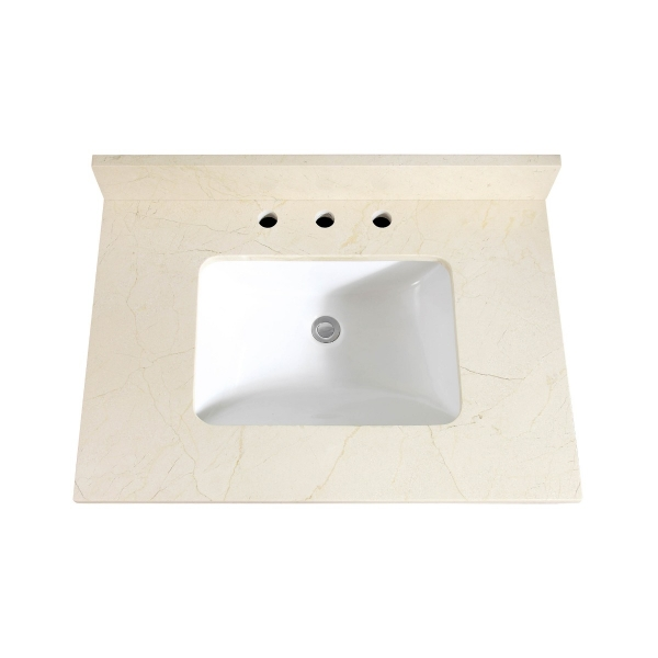 "31"" Crema Marfil Marble (Single Rectangular Sink Cutout)"