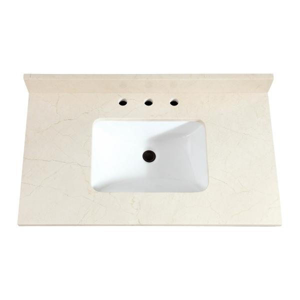 "37"" Crema Marfil Marble (Single Rectangular Sink Cutout)"