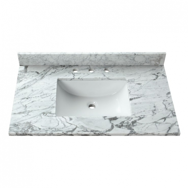 37 in. Carrera White Stone Vanity Top (Rectangular Sink)