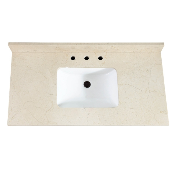 "43"" Crema Marfil Marble (Single Rectangular Sink Cutout)"