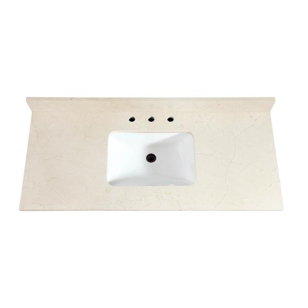 "49"" Crema Marfil Marble (Single Rectangular Sink Cutout)"