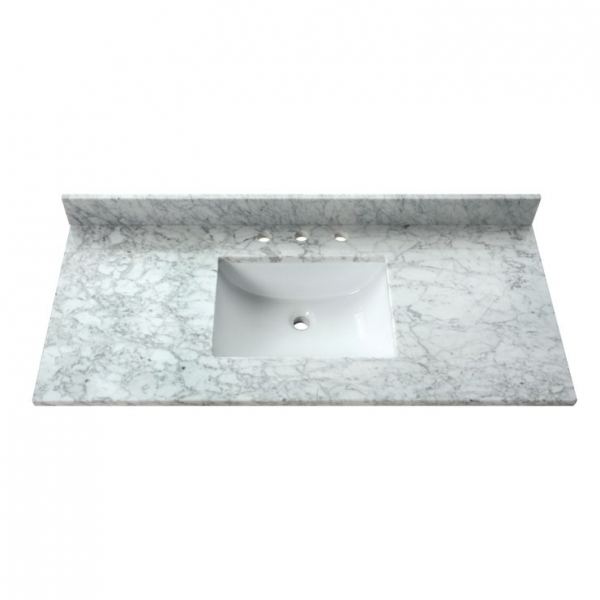 49 in. Carrera White Stone Vanity Top (Rectangular Sink)