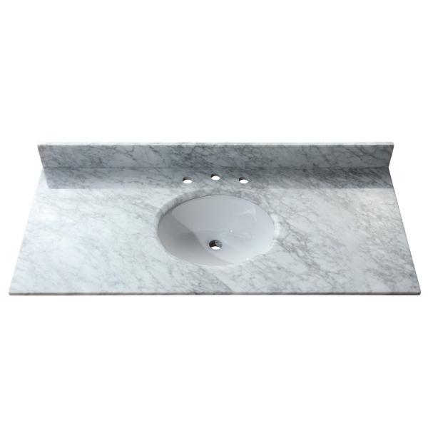 49 in. Carrera White Stone Vanity Top