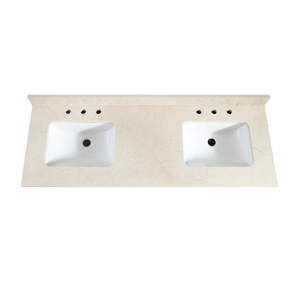 "61"" Crema Marfil Marble (Double Rectangular Sinks Cutout)"
