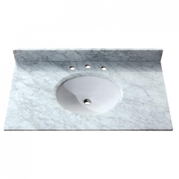 WINDSOR 37 in. Carrera White Stone Vanity Top