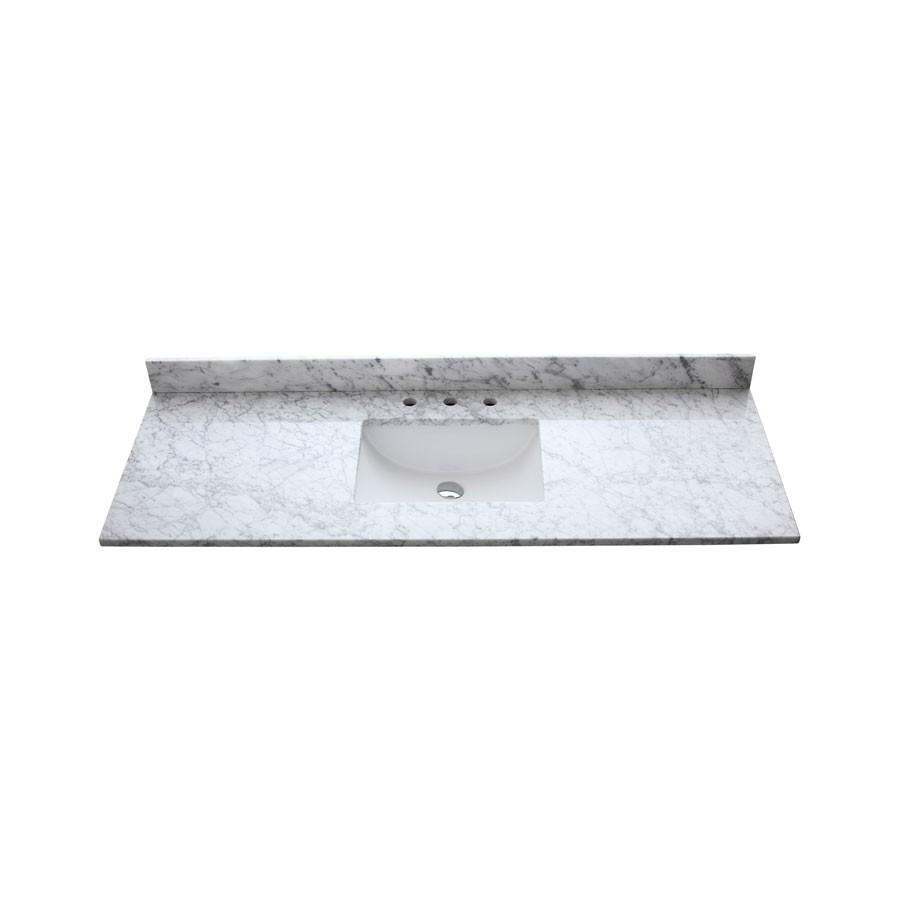 61 In Carrera White Stone Vanity Top Single Rectangular Sink